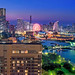 The skyline of Yokohama and Minato Mirai twinkles on an early autumn evening.
