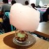 My frd's mint icecream with huge cotton candy:heart_eyes::heart_eyes::heart_eyes: #cotton candy #icecream #strawberry