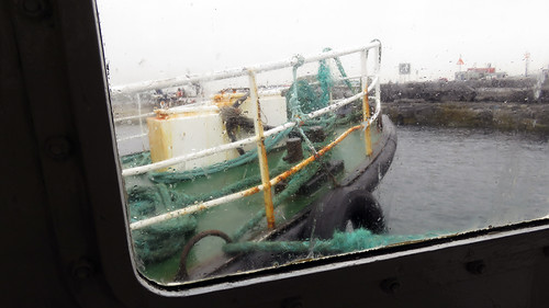 Rainy view out the window of our ferry to the Aran Island of Inisheer, the Queen of Aran