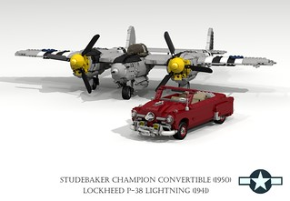 Lockheed P-38 Lightning (1941) and Studebaker Champion Convertible (1950)