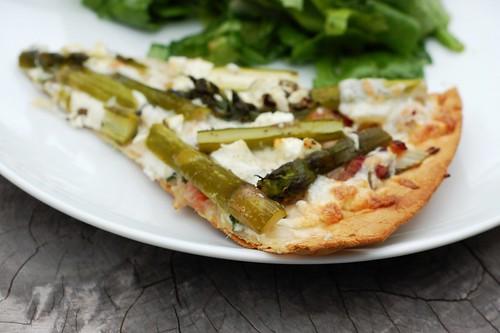 Bacon Asparagus Pizza by Eve Fox, the Garden of Eating blog, copyright 2014