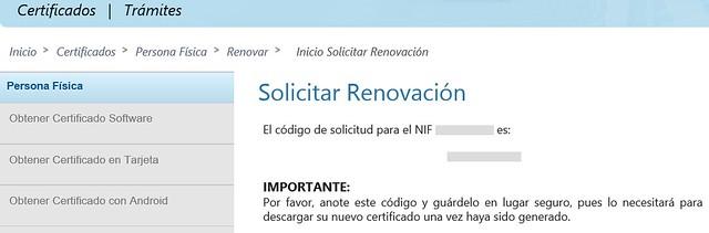 Renovar certificado - Código de solicitud