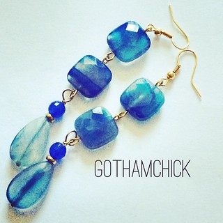 "Blue agate shoulder dusters I just love wearing.. Total drop approximately 3"".. Flat faceted teardrop and rounded square beads.  Soon at the shop: Http://gothamchick.etsy.com #handmade #blueagate #blue #shoulderdusters #dropearrings #etsy #gothamchick #go"