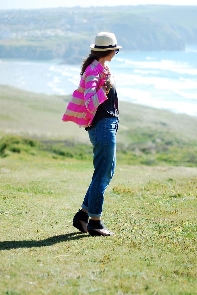 Neon pink stripes, rock tee, boyfriend jeans