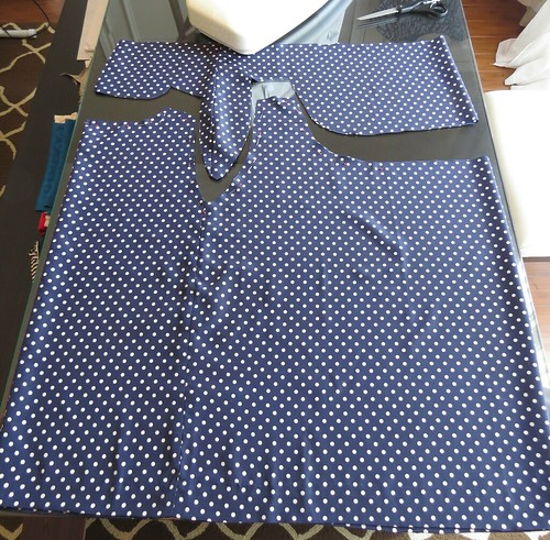 Navy Polka Dot Top - In Progress