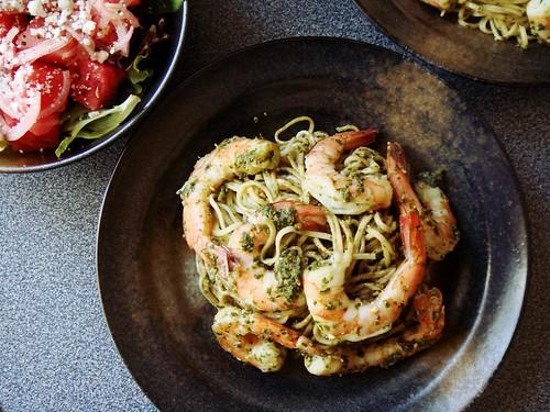 Almost No Cook Dinner: Watermelon Feta Salad, Pesto Shrimp Pasta