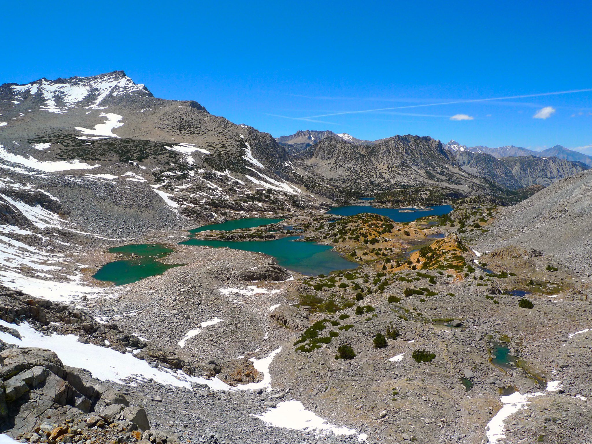 Looking back into the basin as the trail begins to climb up to Bishop Pass
