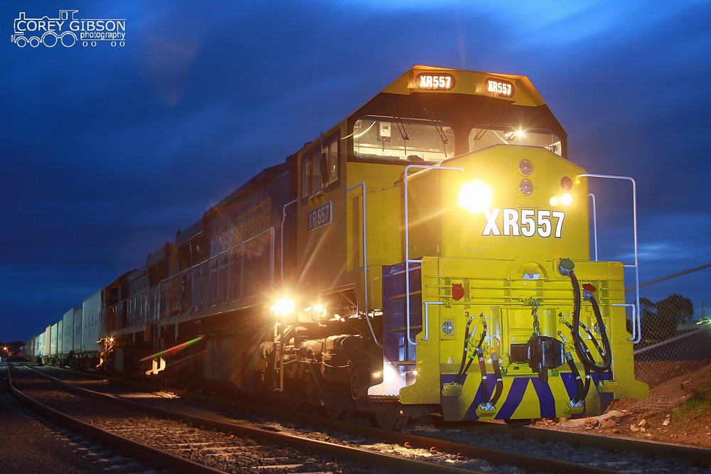 XR557 & XR554 ready to depart the Warrnambool container yard by Corey Gibson