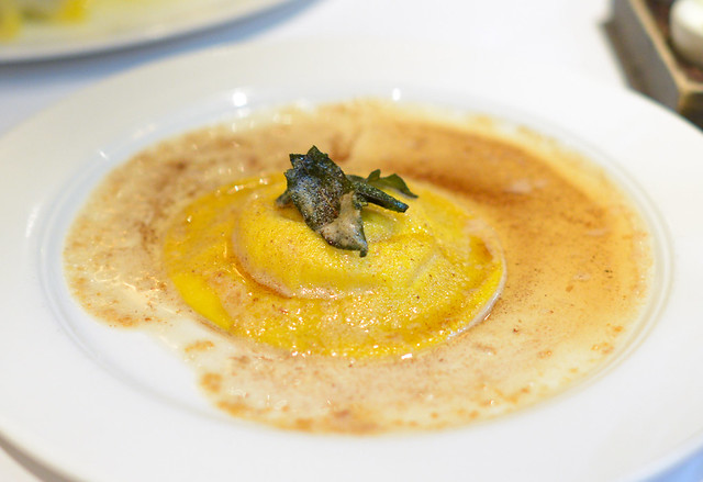 Ricotta and Egg Raviolo with brown butter