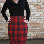 A red tartan Gertie's Pencil Skirt
