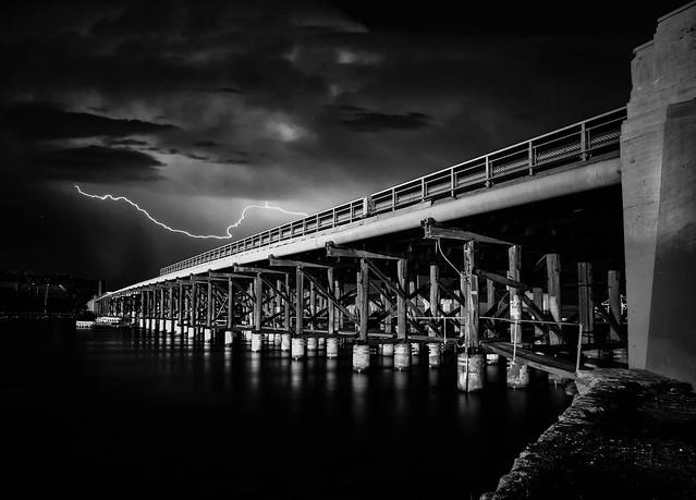 Storm over the old Fremantle Traffic bridge