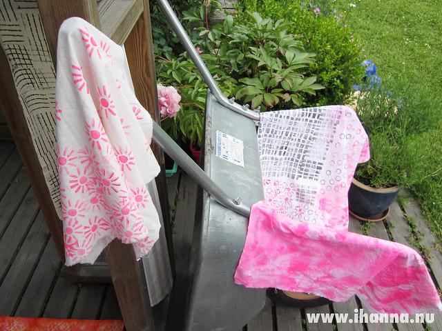 Neon Pink Fabrics drying