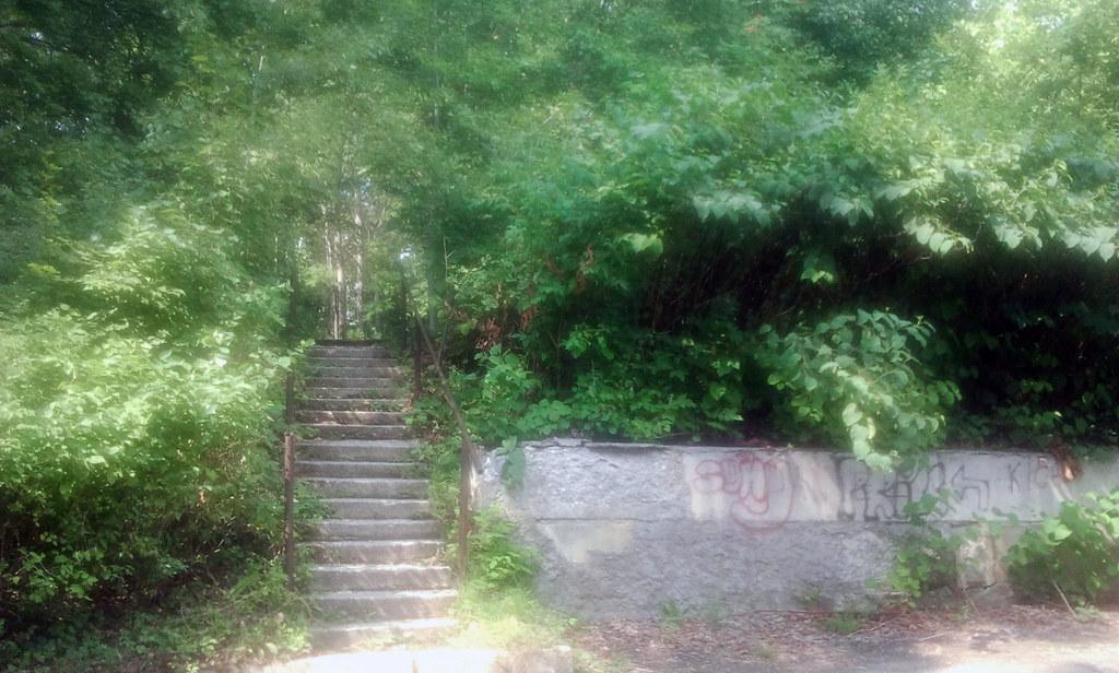 Лестница в сквере возле железнодорожной больницы
