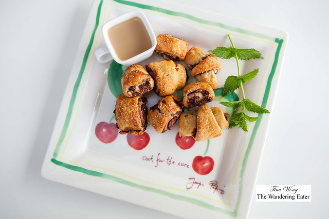 Homemade rugelach filled with almonds, Amoretti Noisina Hazelnut spread or Bonnie's Black & Blue jam