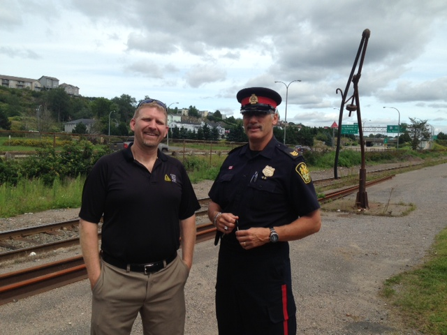Bill Walker & Officer Jeff LaFrance at Operation Lifesaver Trespass Outreach Event in NB Skate Park