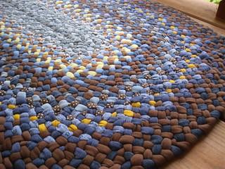 Handmade Denim/BrownOval Braided Rug from recycled fabrics