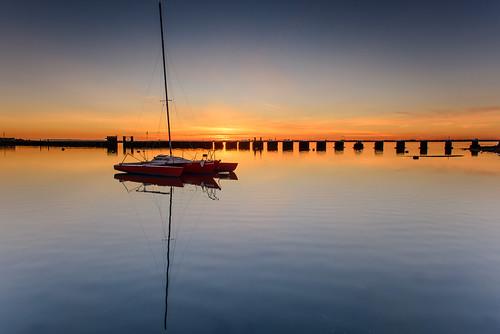 uk blue winter sunset cold reflections boat still nikon yacht haylingisland january hampshire calm filter lee nd grad southcoast piles d800 2014 langstoneharbour allonitsown sunsetsnapper
