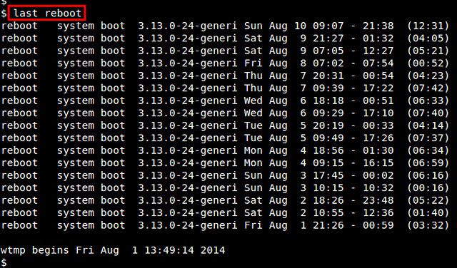 How to check the last time system was rebooted on Linux