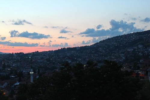 sunset sarajevo bosnia hills herzegovina bosniaandherzegovina yellowfort