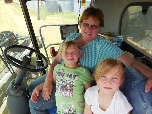 Mom, Chloie and Hadley in the combine