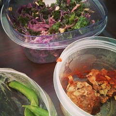#10dayDetox #recipes - kale and cabbage salad with sunflowers. Organic turkey meatballs and sugar peas. #glycemicgood