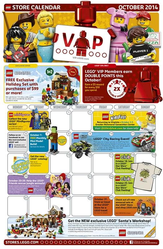 LEGO Shop October Calendar