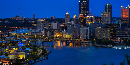 night river pittsburgh cityscape citylights bluehour overlook riverview