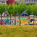 Berlin en Juin 2014 au moment de la Coupe du Monde Football 191 la Spree au bout de Brommystrasse, East Side Gallery by paspog