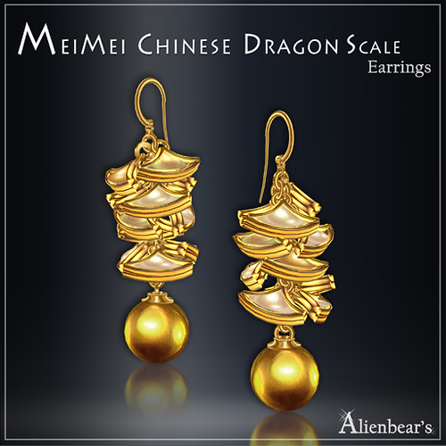 MeiMei Dragon Scale Earrings Creamy