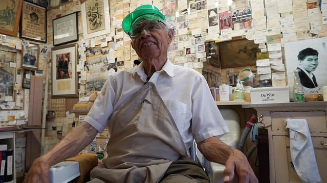 Angel Delgadillo in his Barber shop