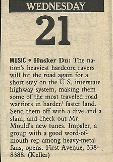 09/21/83 Husker Du/ Impaler @ First Avenue, Minneapolis, MN