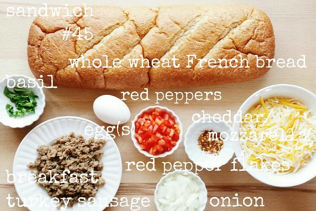 52 sandwiches no. 45: breakfast turkey sausage, peppers, + onion