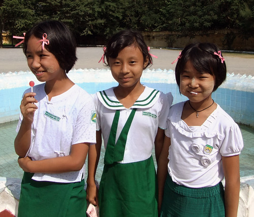 School girls outside Matumashi monastery in Mandalay, Myanmar