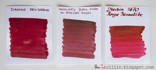 Diamine Red Dragon vs Noodler's BSER vs 1670 Rouge Hematite