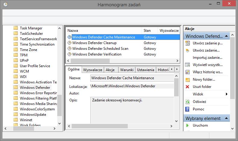 Wyszukiwanie zadań Windows Defendera w Harmonogramie zadań