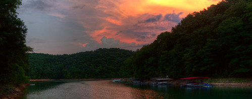trees light sunset summer sky panorama orange lake color green water weather yellow clouds rural forest reflections point landscape pier boat dock woods view cove tennessee ripple scenic atmosphere storage hills erosion shore recreation backlit shelter overlook appalachia slope