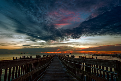 sky usa cloud building water sunrise river landscape dawn dock unitedstates florida cloudy titusville centralflorida edrosack