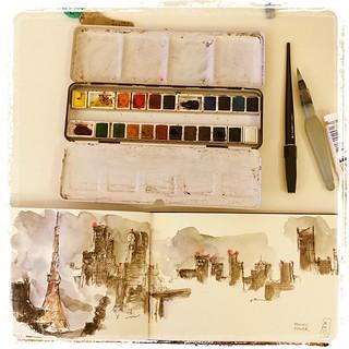 #japon #tokyo #carbon #platinum #watercolor #urbansketch