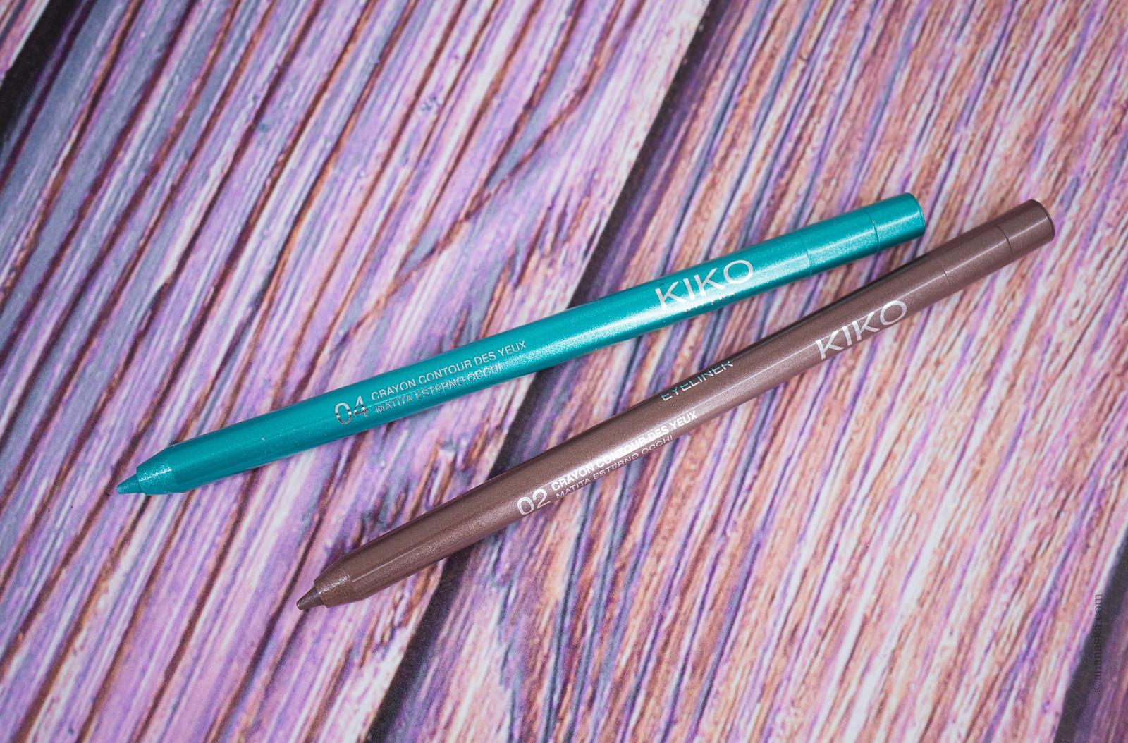 Kiko Milano Multicolour Glitter Eyeliner 02 Silent Taupe, 04 Lagoon Turquoise