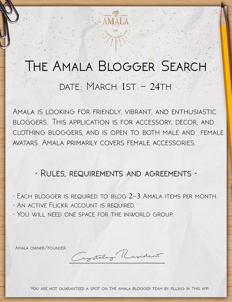 The Amala Blogger Search - March 2017 - SecondLifeHub.com