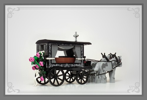 Horse-drawn hearse, Silesia, Poland, XIX-XXc.