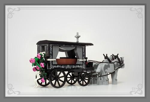 Horse-drawn hearse, Silesia, Poland, XIX-XXc.