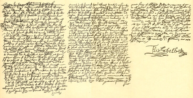 The death warrant for Mary Stuart, signed by Elizabeth I