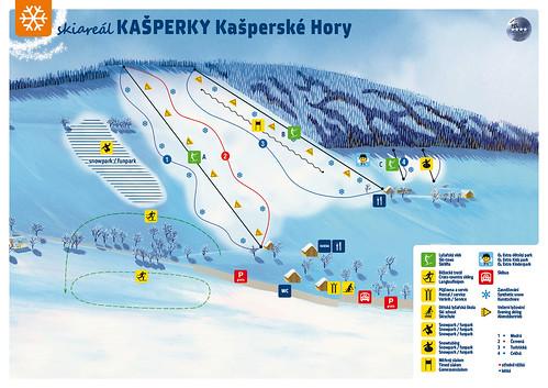 Kašperské Hory - mapa sjezdovek