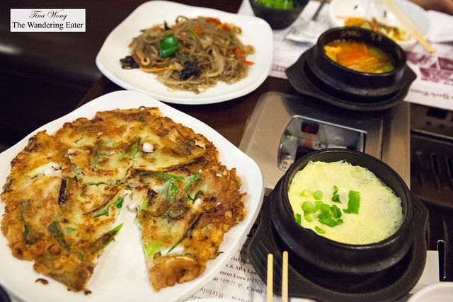 Haemul Pajeon, Japchae, and Gaeran jim