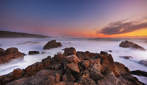 sunset sea newzealand sky beach clouds rocks southisland westport westcoast capefoulwind canoneos5dmarkiii