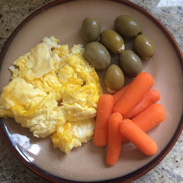 Day 3, #Whole30 - breakfast (micro eggs with ghee, carrots, garlic stuffed olives)