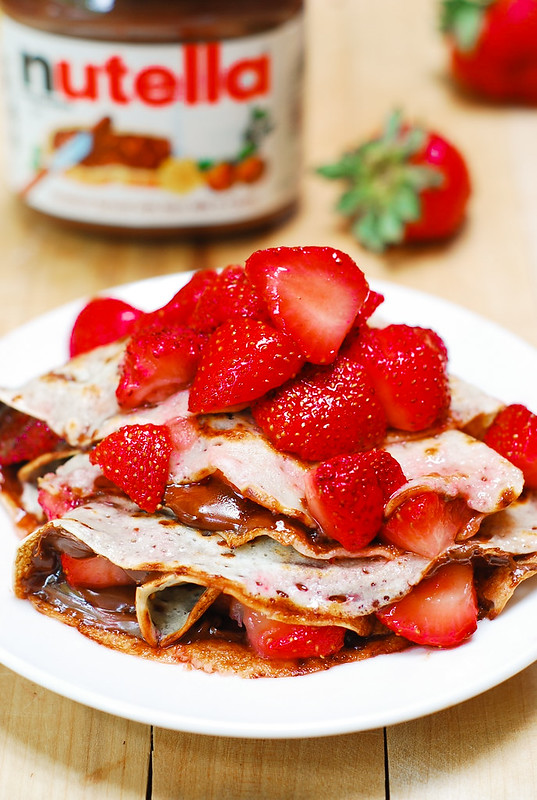 Nutella crepes, chocolate crepes, strawberry crepes, berry desserts, berry pancakes