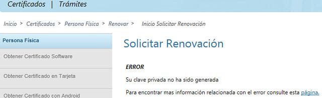 Renovar certificado - Error en la solicitud