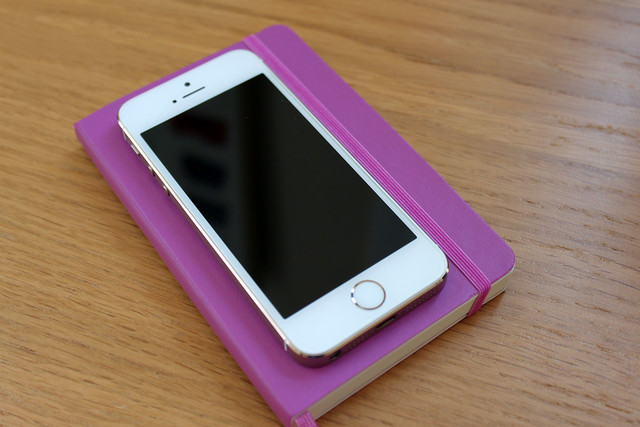 Moleskine soft cover pocket notebook (orchid purple) with iPhone 5s
